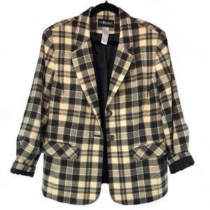 💛🖤 Vintage Black & Yellow Plaid Checkered Blazer